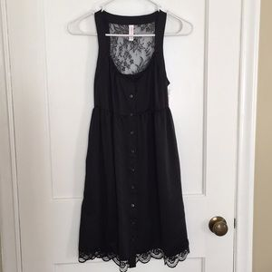 Xhilaration Black Lace Button Up Tank Dress NWT